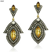 Pave Diamond 4.1ct Citrine 18kt Gold 925 Sterling Silver Dangle Earrings Jewelry