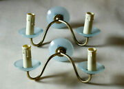 A Pair Of Rare Vintage Italian Blue Opaline Wall Lamps Sconces 26cm 10in Murano
