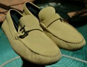 Salvatore Ferragamo Man's Lime Green Suede Side Buckle Drivers Loafer Sz 9.5ee