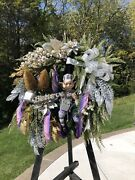 Believe Christmas Holiday Plum Silver Gold Farmhouse Winter Lux 27l Door Wreath