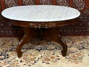 Antique Oval Marble Top And Mahogany Carved Floral Coffee Table With Finial Cent