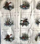 Vintage V.i.p. Wild Duck Picture Book Patches Cotton Fabric 45''x 53'' Panel