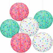 6 Pieces Donut Party Hanging Paper Lanterns Baby Shower Donut Lanterns For Ba...