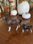 Rare Vintage Lot Of 2 Horses Mother And Foal Figurines