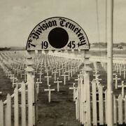 Wwii 1945 Okinawa 7th Division Cemetery Vintage World War 2 Ww2 Real Photo