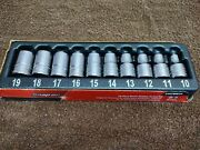 New Snap-on 10 Piece 1/2 Drive 6-point Metric Flank Drive Shallow Socket Set