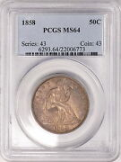 1858 Pcgs Ms64 Seated Half Nicely Toned Piece W/ Satiny Luster And Strong Strike