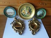 Vintage 3 Miniature Gold-tone Frames Italy Round Frames And 2 Small Mirror