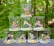 Vintage Set 8 Ned Smith Signed Hand Blown Rock Bourbon Game Bird Glass 3 3/4