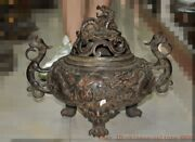 Tibet Buddhism Copper Bronze Feng Shui Lucky Animal Dragon Loong Incense Burner