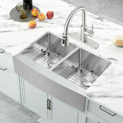 Farmhouse/apron Front 33'' Stainless Steel Double Bowl Kitchen Sink With Faucet