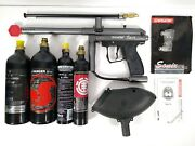 Spyder Sonix Gray Metal Paintball Gun Very Good Condition With 4 Air Bottles