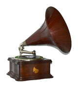 Columbia By Phonograph And Original Wood Horn - We Ship Worldwide