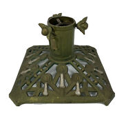 Antique Cast Iron Christmas Tree Stand Holder - Candles And Bells