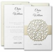 Wedding Invitations Personalized Floral Laser Cut Belly Band Thermography Print
