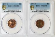 2x 1954-s Pcgs 1c Lincoln Wheat Cent/penny Ms66rb Matching Pair Eor Toned
