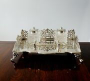 Vintage Walker And Hall Silver Gallery Inkstand Antique Desk Stand Carrand039s Dip Pen