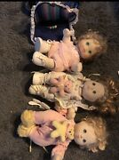 Vintage 1980s 3 Mattel My Child Dolls With Stuffies And Carrying Papoose.