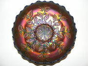 Vintage Antique Fenton Carnival Glass Holly Bowl In Blue Exceptional Iridescence