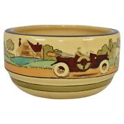 Roseville Pottery Tourist 1916 Creamware Scenic Arts And Crafts Bowl 226-6