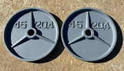 Pair Of Used Vintage Olympic 45 Lb Weight Lifting Plates Iron Deep Dish 90 Lb