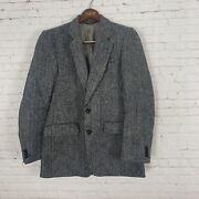 Harris Tweed Blazer Jacket Size 38r Grey Menand039s Great Condition Made In Canada