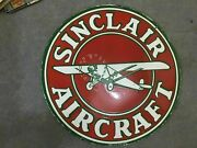 Porcelain Sinclair Aircraft Enamel Sign Size 30 Round Double Sided