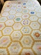 Hand Sewn Vintage Cutter Quilt As Is 82 X 102 As Found For Crafts / Hobby