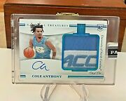 2020 Panini National Treasures Cole Anthony 1/1 Rpa Acc Patch Rookie One Of One