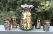 Antique Fenton Butterfly Fern Green Carnival Glass Water Pitcher 4 Tumblers Set