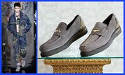 F/w2013 Look 22 New Versace Gray Suede Leather Loafers Shoes With Studs 44 - 11