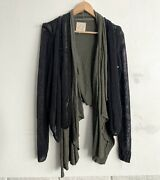 Chaser Womenand039s Distressed Layered Drape Front Cardigan Size Small Olive Green