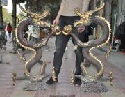 40 Old China Chinese Fengshui Bronze Gilt Zodiac Dragon Beast Lucky Statue Pair