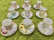 Rare Antique Set Of 8 Cofee Tea Cup Saucer Tandv Limoges French Hp