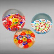 Vintage Murano Set 3 Paperweights Millefiori Rounded Multi Colors