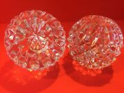 Pair 2 Waterford Lismore Round Ball Candlesticks Candle Holders 2 5/8 Signed
