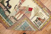 Vintage Turkish Pictorial Camel And Donkey Rug Size 3and0392and039and039x3and03911and039and039