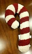 Pottery Barn Cozy Teddy Faux Fur Candy Cane Shaped Pillow Christmas Nwt Sold Out