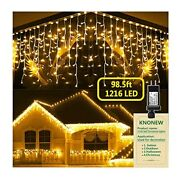 Christmas Lights Outdoor Decorations Curtain Fairy String Clear Wire Warm White