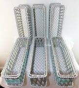 Silver Color Rectangle Open Weave Iron Baskets Set Of 6