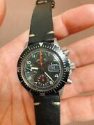 Sinn 256 B Chronograph Automatic Valjoux Day Date Genuine Leather Black Dial