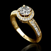 Genuine Natural 2 Ct Solitaire Side Stones Diamond 18k Yellow Gold Proposal Ring