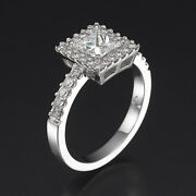 2.3 Ct Authentic Princess Accented Diamond 14k White Gold Engagement Bridal Ring