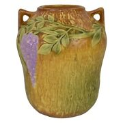 Roseville Pottery Wisteria 1933 Tan Arts And Crafts Vase 634-7