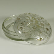 R. Lalique Le Lys Frosted And Clear Glass Dand039orsay Powder Box Brown Patina C1922