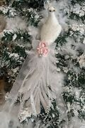 Shabby Victorian Chic Pink Rose White Peacock Feather Bird Christmas Ornament