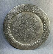 Large 23 Persian Islamic Tray Middle Eastern Brass Tin Pewter Vintage Antique