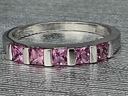 Vintage White Gold Princess Cut Pink Sapphires - Perfect Symmetry Lovely Combi