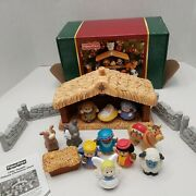 Box Fisher Price Little People Deluxe Christmas Story Set Light And Sound Nativity