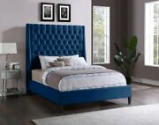 1pc Queen Size Bed Brass Nailheads Tufted Wing Headboard Navy Color Velvet